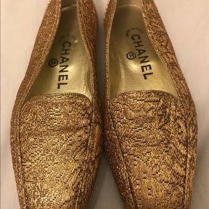 Authentic Chanel CC  Ballet Gold Flats Shoes 5 US